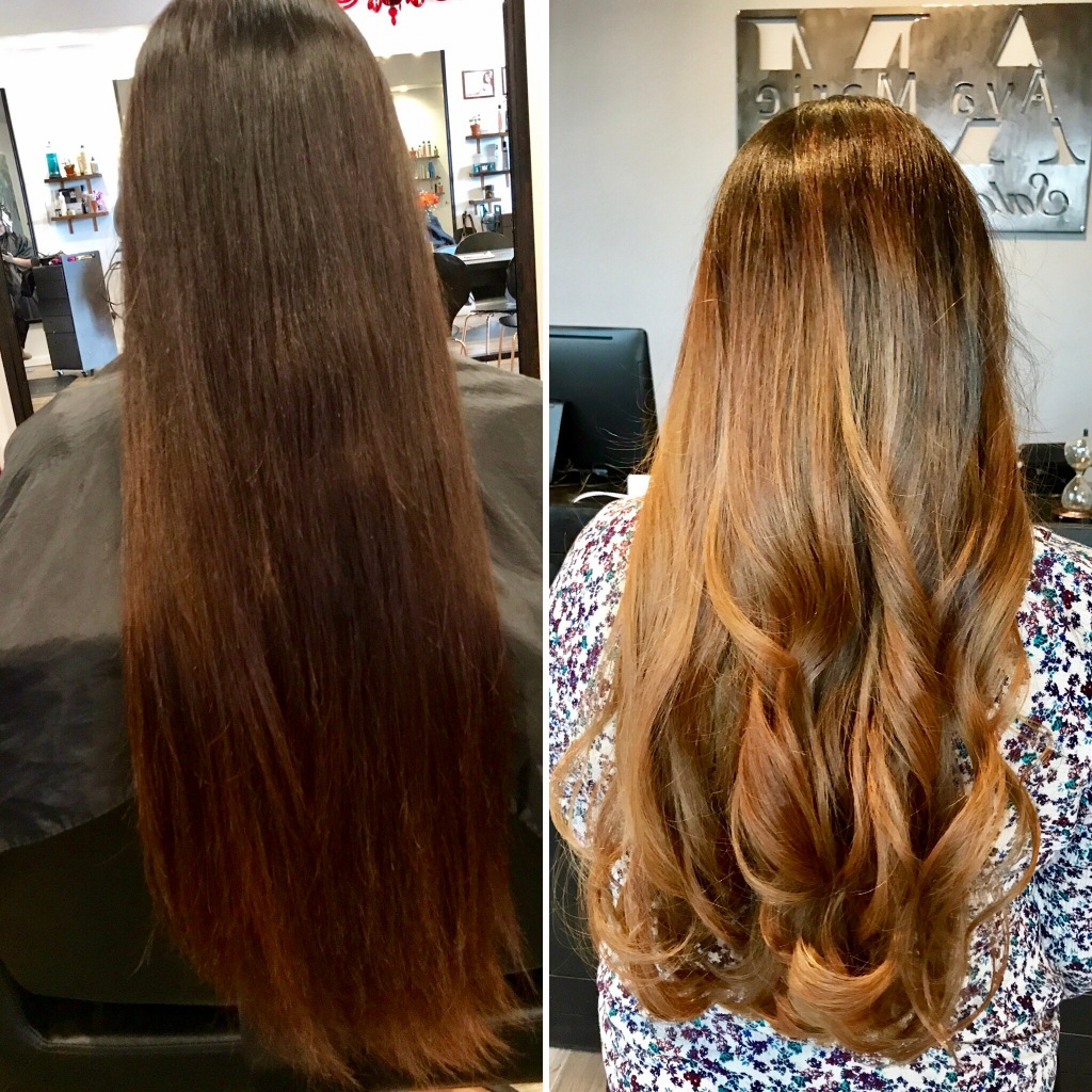 before and after balayage haircut by Maddie Baine at Ava Marie Salon and Spa