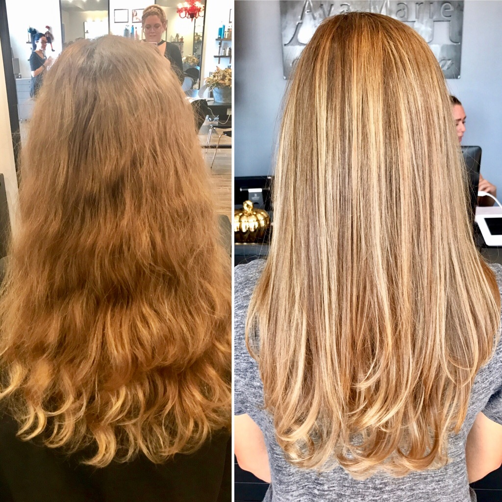 before & after balayage haircut by Maddie Baine at Ava Marie Salon and Spa