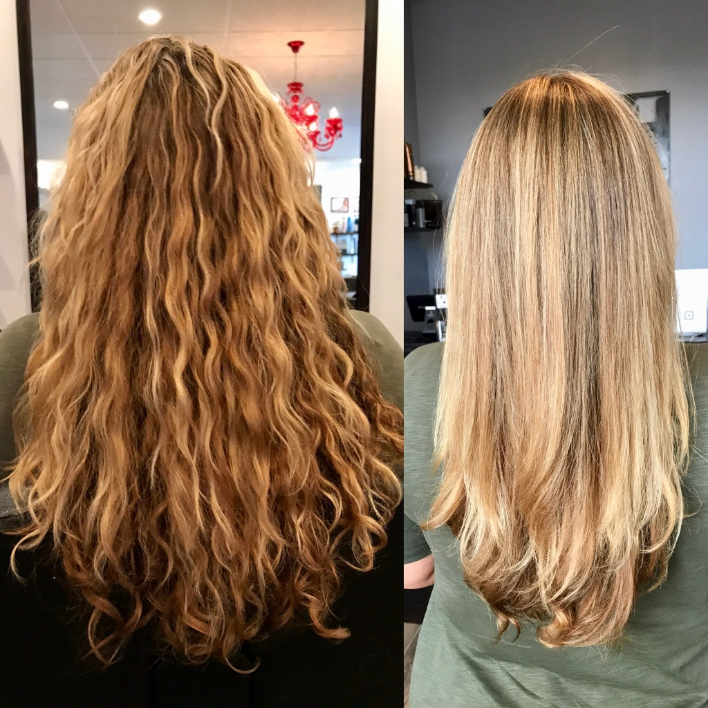 before and after brazillian blowout by Maddie Baine at Ava Marie Salon and Spa