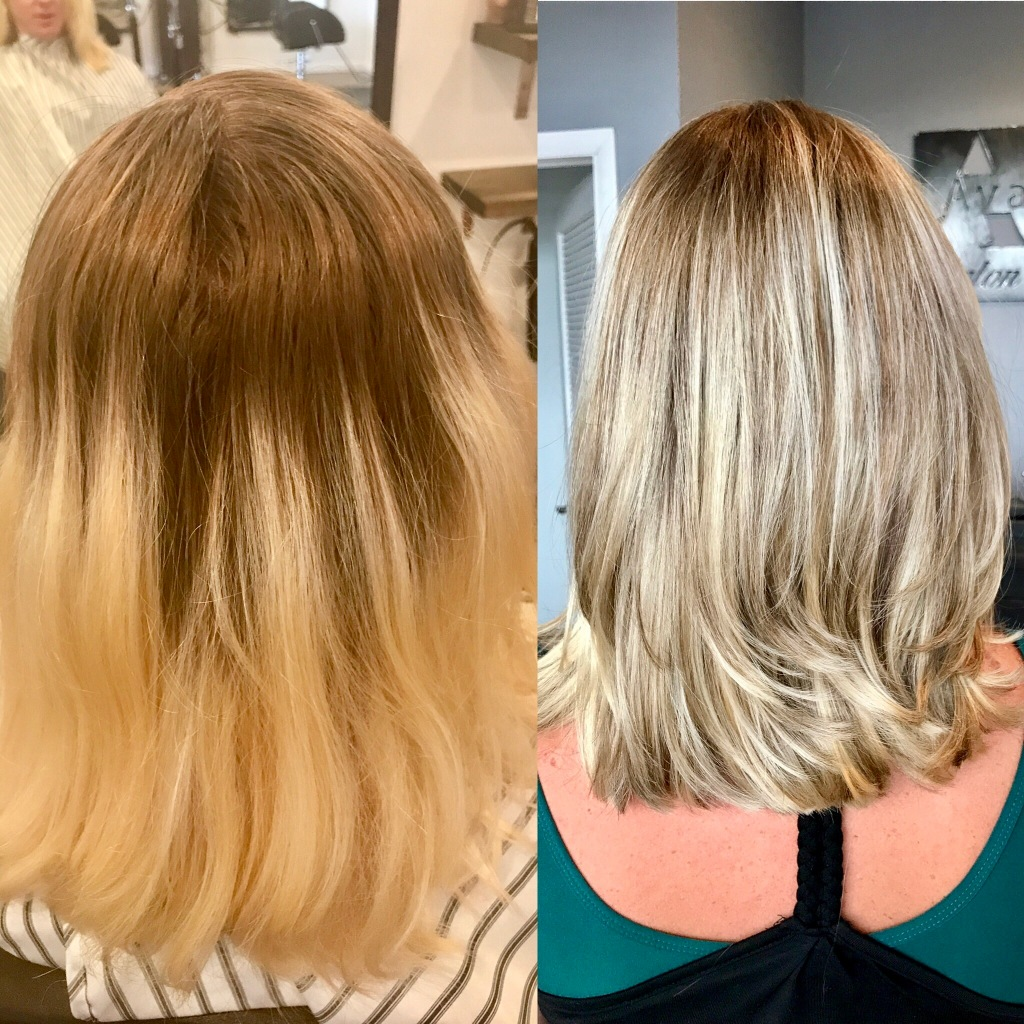 before & after color correction + color melt + balayage by Maddie Baine at Ava Marie Salon and Spa