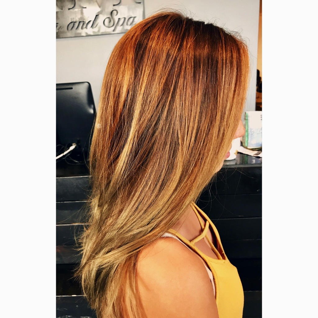 after color melt + balayage + haircut by Maddie Baine at Ava Marie Salon and Spa